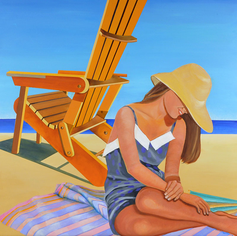 Girl with Adirondack Chair painting by Martina Leslie