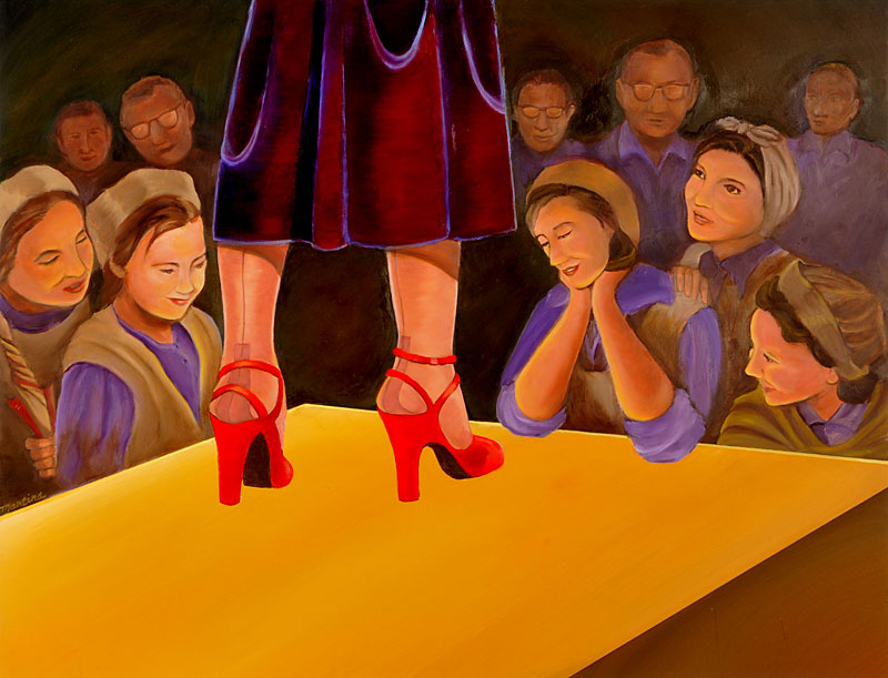 The Workers Who Made the Shoes painting by Martina Leslie